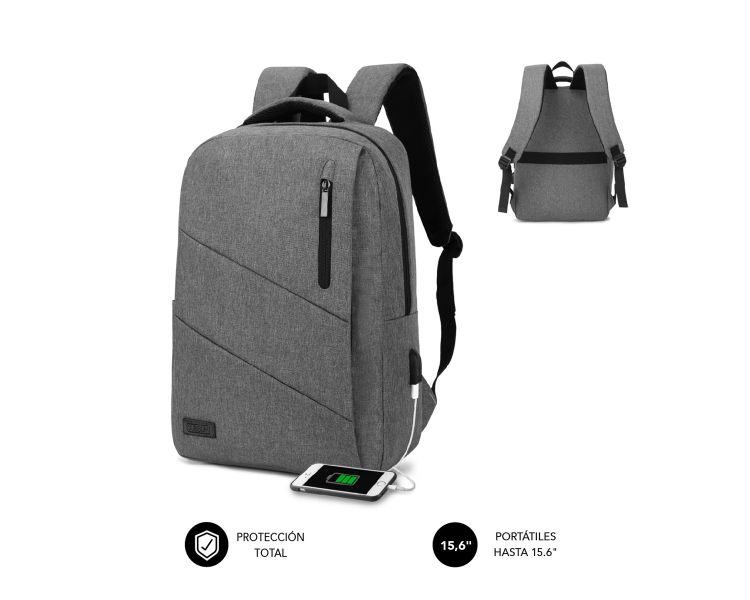 "MOCHILA CITY BACKPACK 15.6"" GREY SUBBLIM"