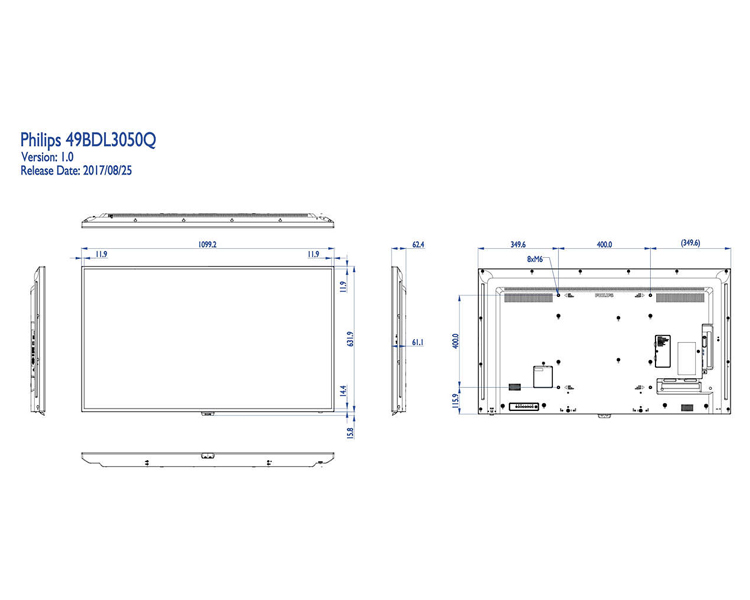 "PANTALLA PHILIPS DIGITAL SIGNAGE Q-LINE 49"" 49BDL3050Q"