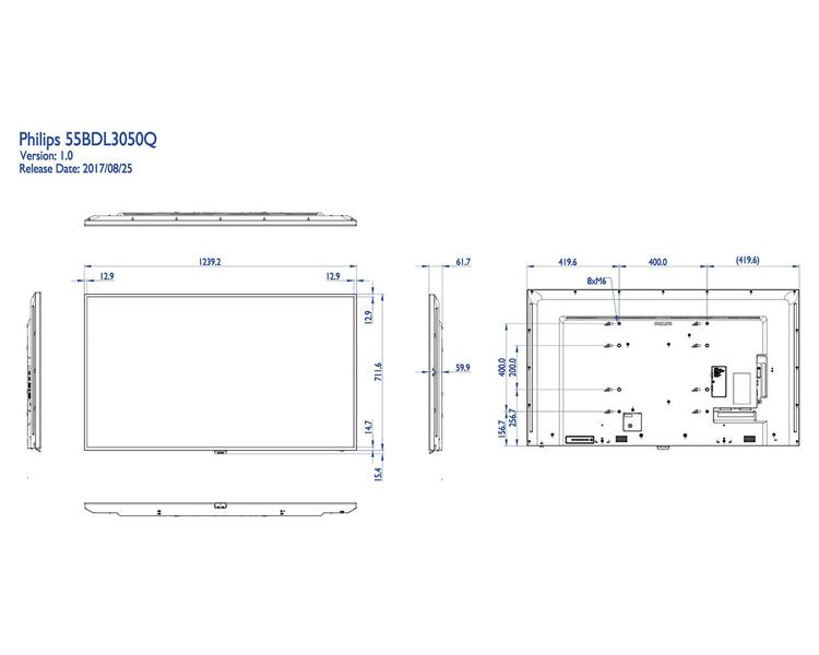"PANTALLA PHILIPS DIGITAL SIGNAGE Q-LINE 55"" 55BDL3050Q"