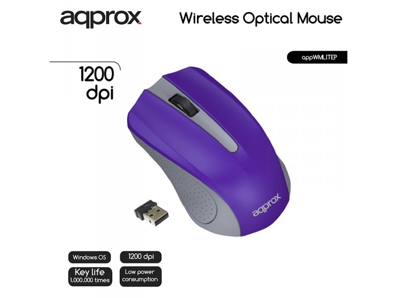 MOUSE OPTICO WIRELESS LITE PURPLE APPROX