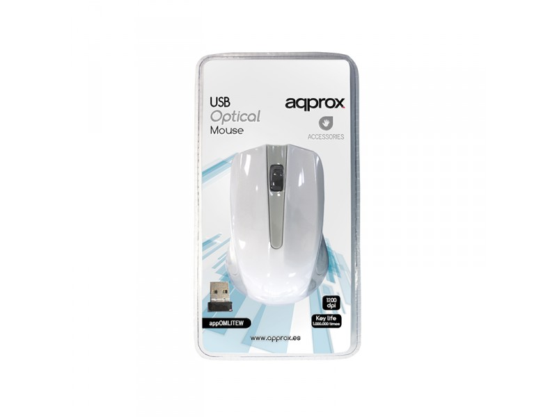 MOUSE OPTICO WIRELESS LITE WHITE APPROX